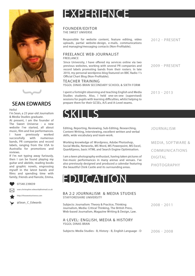 Sean Christopher Edwards CV